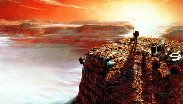 Artists concept of possible scene of Astronauts on Mars during a dust storm